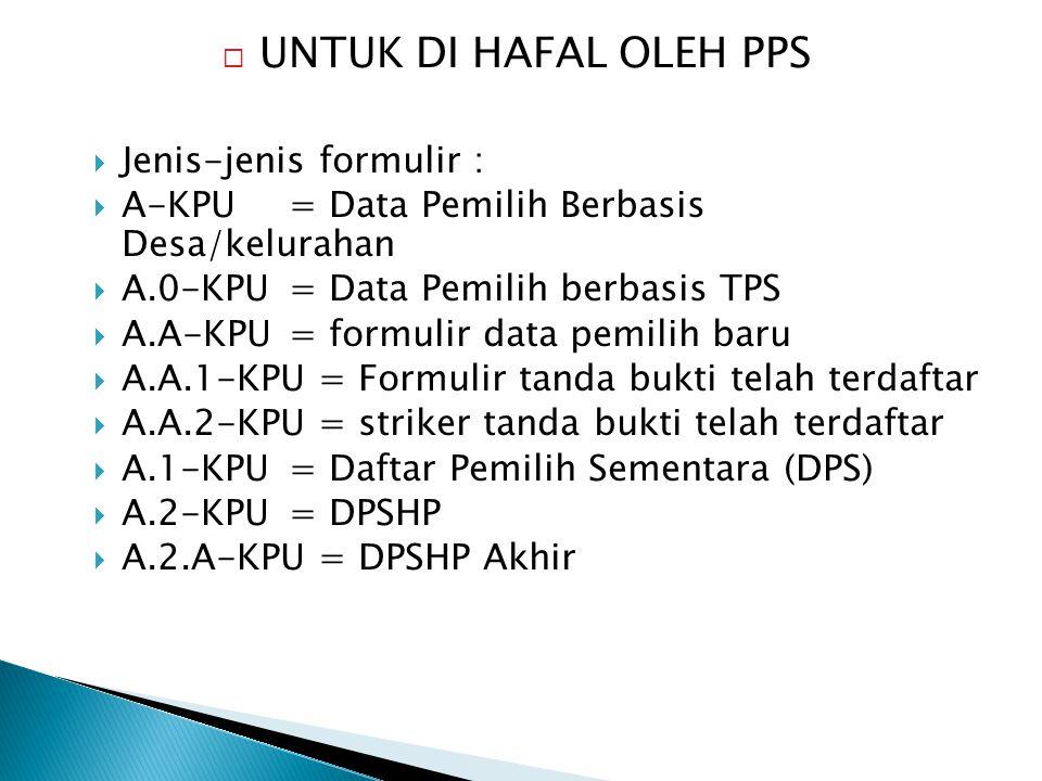  Jenis-jenis formulir :  A-KPU= Data Pemilih Berbasis Desa/kelurahan  A.0-KPU = Data Pemilih berbasis TPS  A.A-KPU= formulir data pemilih baru  A