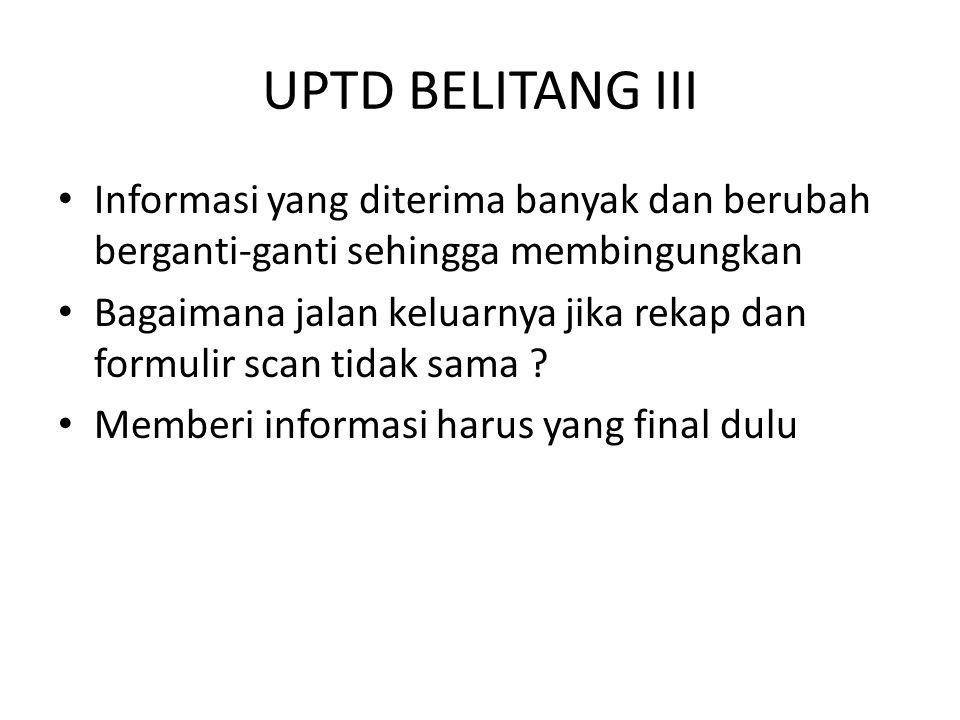 UPTD BELITANG III Informasi yang diterima banyak dan berubah berganti-ganti sehingga membingungkan Bagaimana jalan keluarnya jika rekap dan formulir s