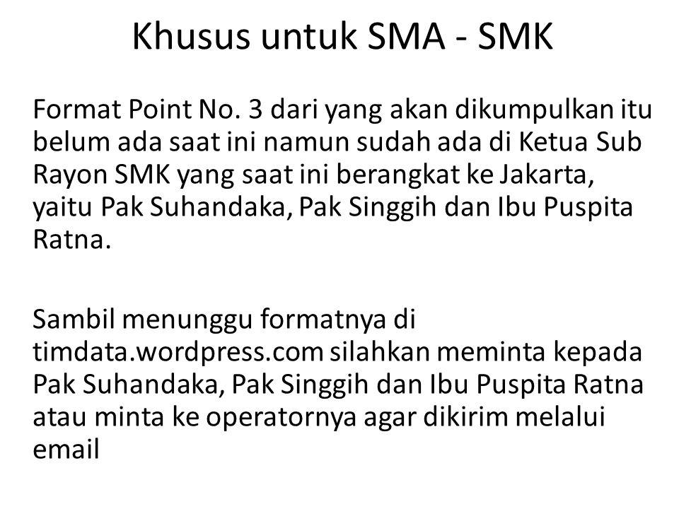 Khusus untuk SMA - SMK Format Point No. 3 dari yang akan dikumpulkan itu belum ada saat ini namun sudah ada di Ketua Sub Rayon SMK yang saat ini beran