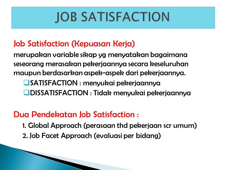 Job Satisfaction (Kepuasan Kerja) merupakan variable sikap yg menyatakan bagaimana seseorang merasakan pekerjaannya secara keseluruhan maupun berdasar