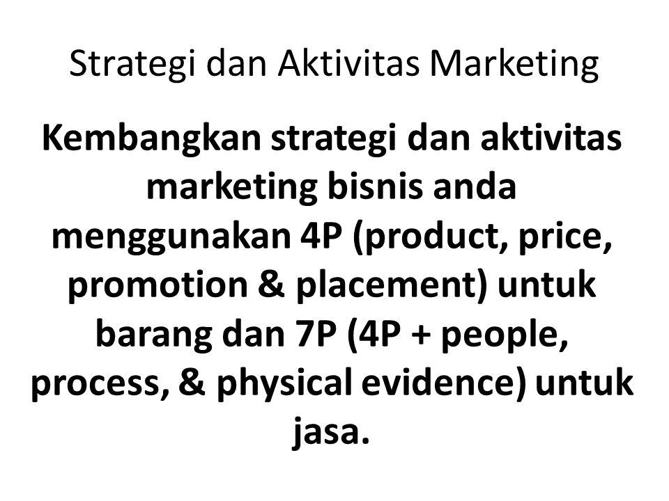 Strategi dan Aktivitas Marketing Kembangkan strategi dan aktivitas marketing bisnis anda menggunakan 4P (product, price, promotion & placement) untuk
