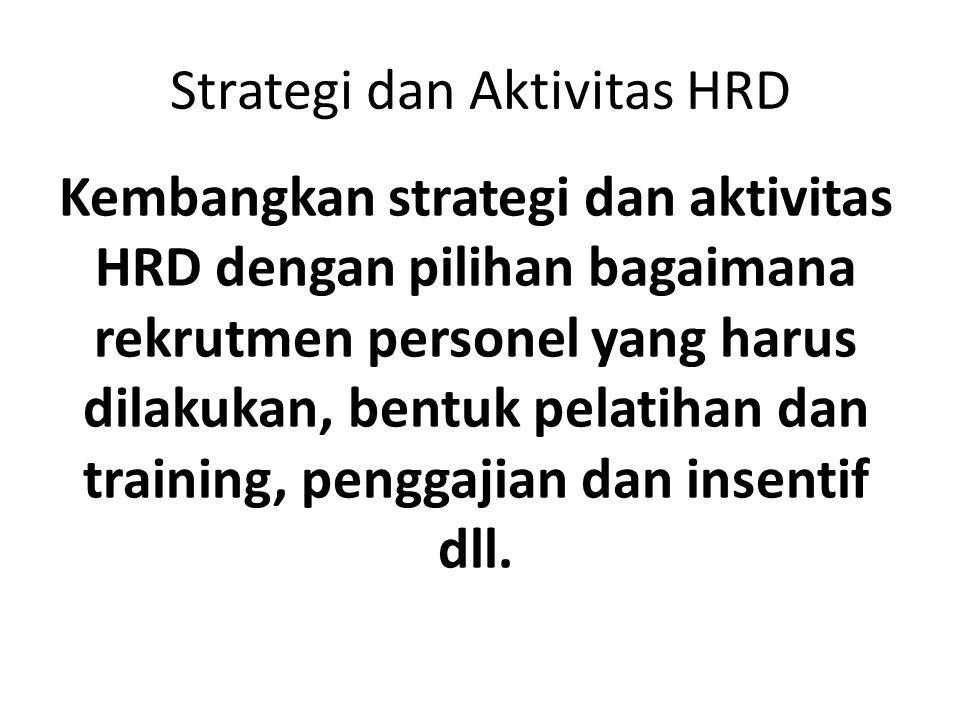 Strategi dan Aktivitas HRD Kembangkan strategi dan aktivitas HRD dengan pilihan bagaimana rekrutmen personel yang harus dilakukan, bentuk pelatihan da