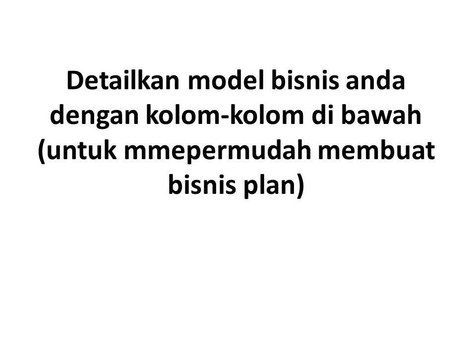 Detailkan model bisnis anda dengan kolom-kolom di bawah (untuk mmepermudah membuat bisnis plan)
