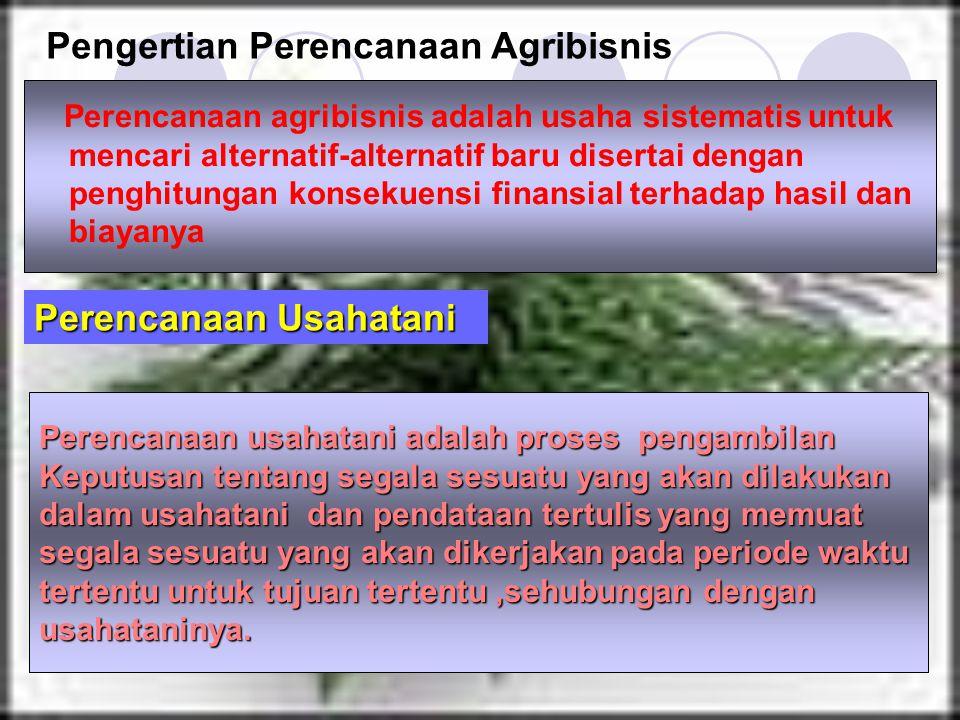 Perencanaan agribisnis adalah usaha sistematis untuk mencari alternatif-alternatif baru disertai dengan penghitungan konsekuensi finansial terhadap ha