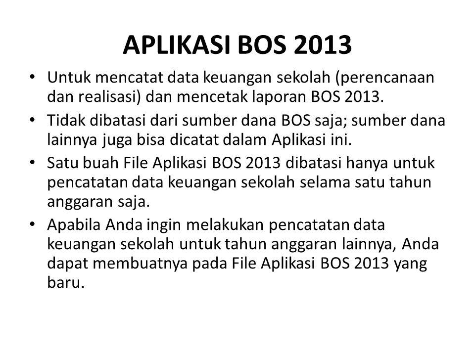 APLIKASI BOS 2013 Untuk mencatat data keuangan sekolah (perencanaan dan realisasi) dan mencetak laporan BOS 2013. Tidak dibatasi dari sumber dana BOS