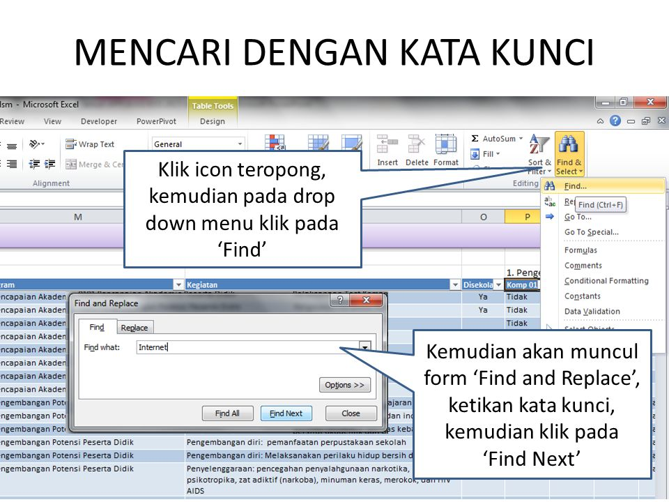 MENCARI DENGAN KATA KUNCI Klik icon teropong, kemudian pada drop down menu klik pada 'Find' Kemudian akan muncul form 'Find and Replace', ketikan kata kunci, kemudian klik pada 'Find Next'