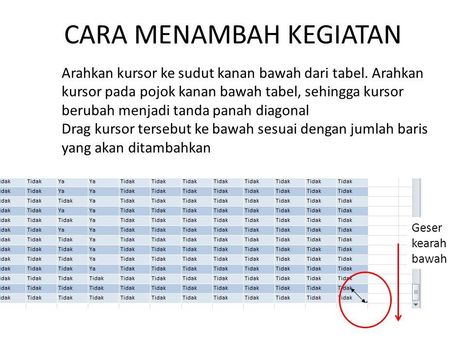 CARA MENAMBAH KEGIATAN Arahkan kursor ke sudut kanan bawah dari tabel.