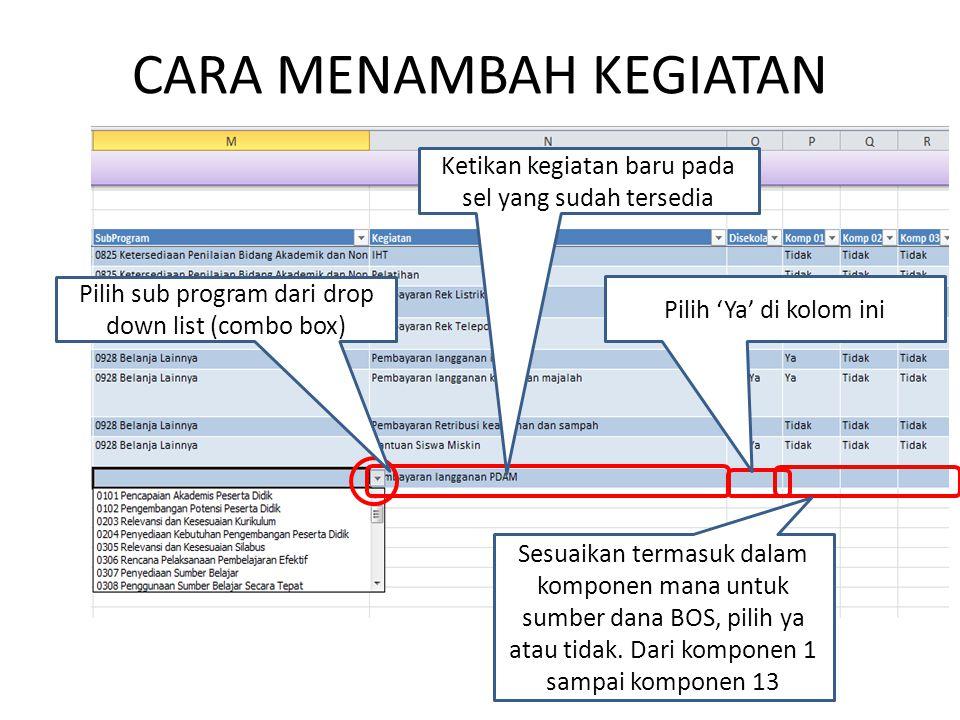 CARA MENAMBAH KEGIATAN Ketikan kegiatan baru pada sel yang sudah tersedia Pilih sub program dari drop down list (combo box) Sesuaikan termasuk dalam k