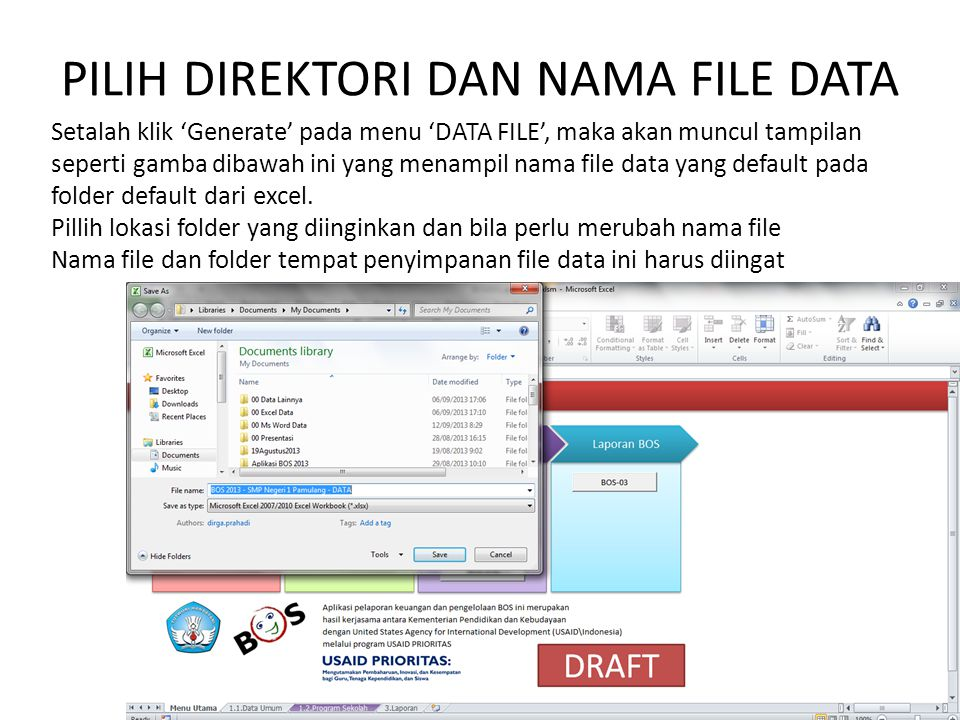 PILIH DIREKTORI DAN NAMA FILE DATA Setalah klik 'Generate' pada menu 'DATA FILE', maka akan muncul tampilan seperti gamba dibawah ini yang menampil nama file data yang default pada folder default dari excel.