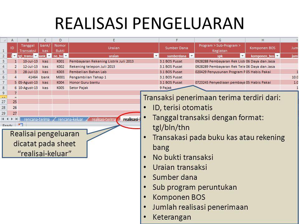 "REALISASI PENGELUARAN Realisai pengeluaran dicatat pada sheet ""realisai-keluar"" Transaksi penerimaan terima terdiri dari: ID, terisi otomatis Tanggal"