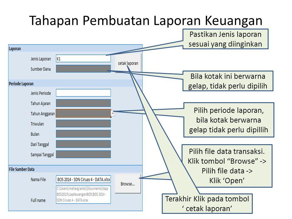 Tahapan Pembuatan Laporan Keuangan Pastikan Jenis laporan sesuai yang diinginkan Bila kotak ini berwarna gelap, tidak perlu dipilih Pilih periode lapo