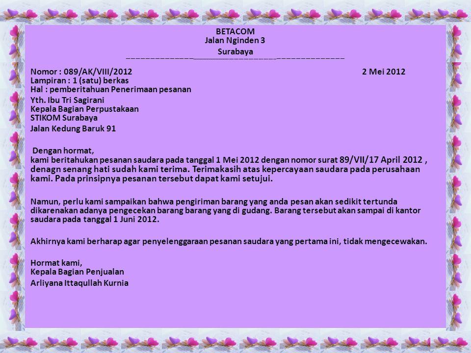 BETACOM Jalan Nginden 3 Surabaya ——————————————-----------------------------------------------------—————————————— Nomor : 089/AK/VIII/2012 2 Mei 2012