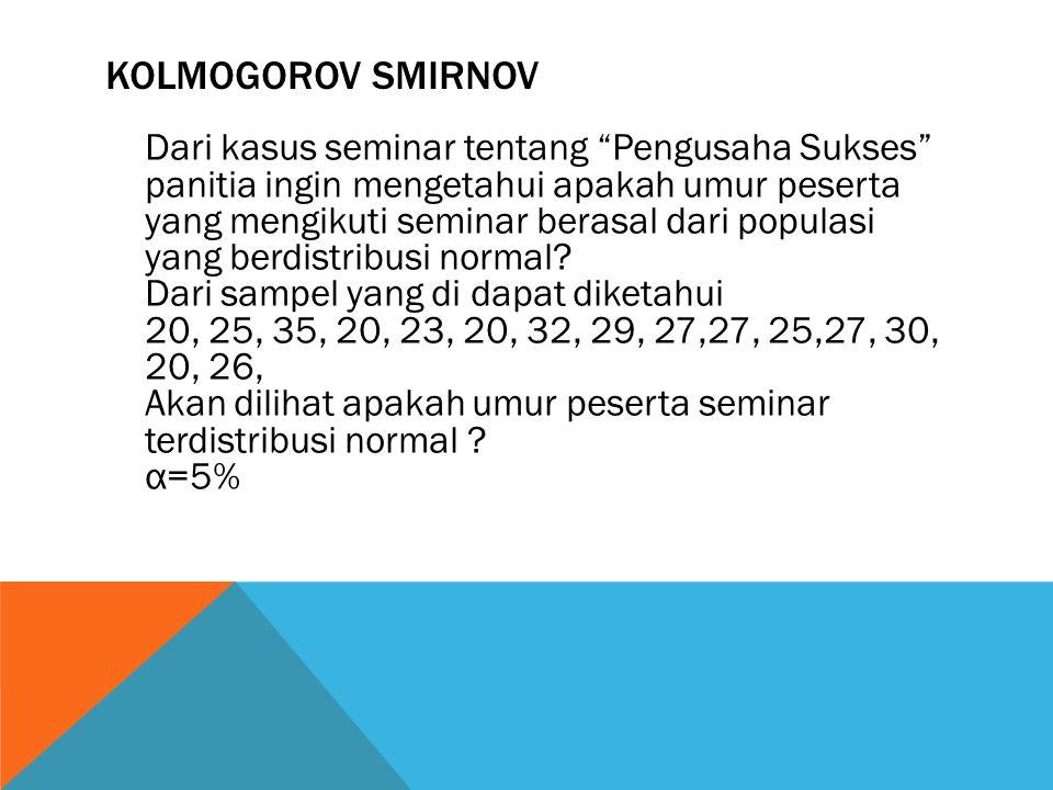 """KOLMOGOROV SMIRNOV Dari kasus seminar tentang """"Pengusaha Sukses"""" panitia ingin mengetahui apakah umur peserta yang mengikuti seminar berasal dari popu"""