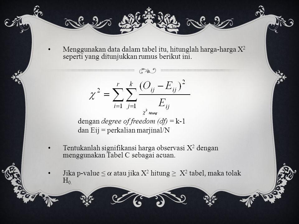 Menggunakan data dalam tabel itu, hitunglah harga-harga X 2 seperti yang ditunjukkan rumus berikut ini. dengan degree of freedom (df) = k-1 dan Eij =