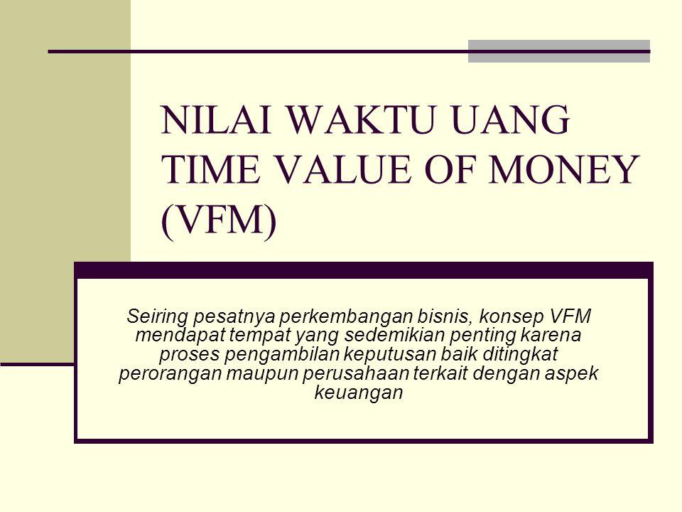 NILAI WAKTU UANG TIME VALUE OF MONEY (VFM) Seiring pesatnya perkembangan bisnis, konsep VFM mendapat tempat yang sedemikian penting karena proses peng