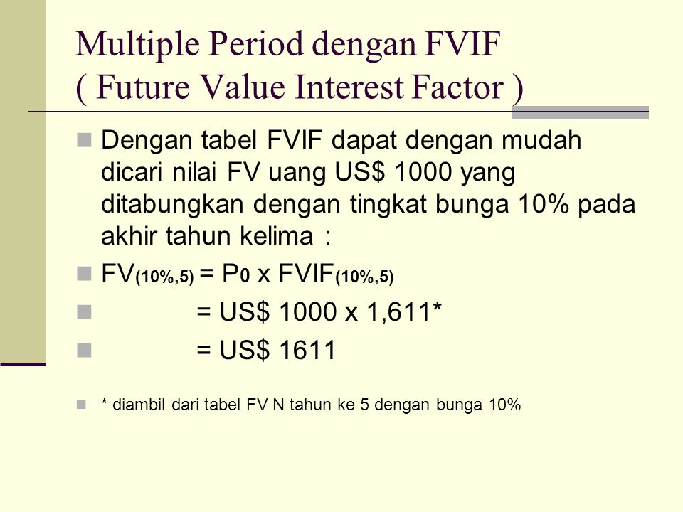 Multiple Period dengan FVIF ( Future Value Interest Factor ) Dengan tabel FVIF dapat dengan mudah dicari nilai FV uang US$ 1000 yang ditabungkan denga