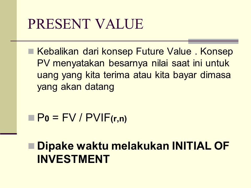 PRESENT VALUE Kebalikan dari konsep Future Value. Konsep PV menyatakan besarnya nilai saat ini untuk uang yang kita terima atau kita bayar dimasa yang
