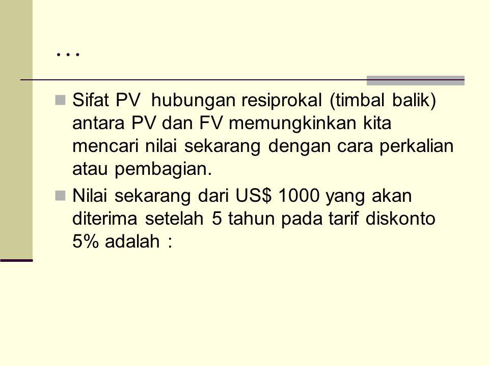 … PV = FV n / FVIF = FV 5 / (1+0,05)5 = US$ 1000 / 1,2763 = US$ 783,50 Keputusan investasi DILAKUKAN jika nilai INITIAL INVESTMENT dibawah PV, dan begitu juga sebaliknya jika NILAI FV lebih besar dari RETURN INVESTMENT dimasa yang akan datang