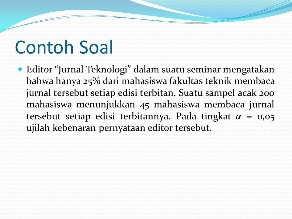 Contoh Soal Editor Jurnal Teknologi dalam suatu seminar mengatakan bahwa hanya 25% dari mahasiswa fakultas teknik membaca jurnal tersebut setiap edisi terbitan.