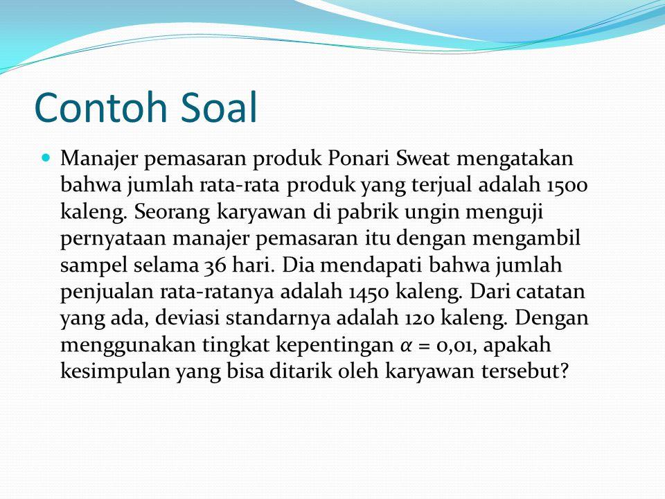Contoh Soal Manajer pemasaran produk Ponari Sweat mengatakan bahwa jumlah rata-rata produk yang terjual adalah 1500 kaleng.