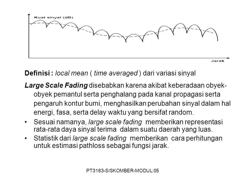 PT3163-SISKOMBER-MODUL:05 Definisi : local mean ( time averaged ) dari variasi sinyal Large Scale Fading disebabkan karena akibat keberadaan obyek- ob