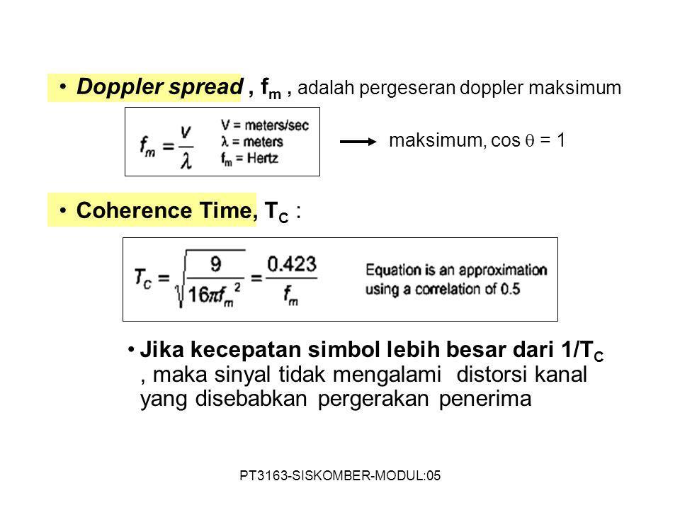 PT3163-SISKOMBER-MODUL:05 Doppler spread, f m, adalah pergeseran doppler maksimum Coherence Time, T C : Jika kecepatan simbol lebih besar dari 1/T C,