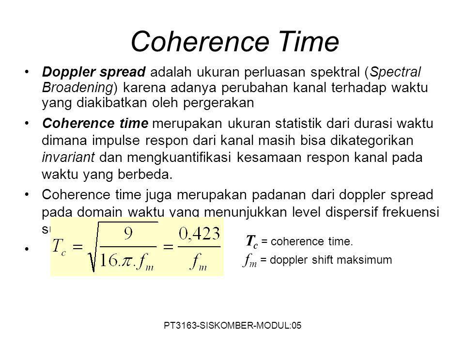 PT3163-SISKOMBER-MODUL:05 Coherence Time Doppler spread adalah ukuran perluasan spektral (Spectral Broadening) karena adanya perubahan kanal terhadap