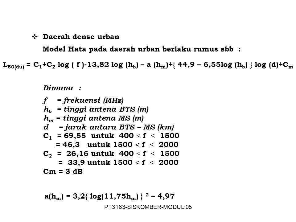PT3163-SISKOMBER-MODUL:05  Daerah dense urban Model Hata pada daerah urban berlaku rumus sbb : L 50(du) = C 1 +C 2 log ( f )-13,82 log (h b ) – a (h