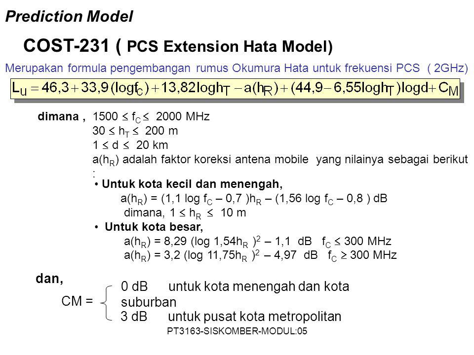 PT3163-SISKOMBER-MODUL:05 Merupakan formula pengembangan rumus Okumura Hata untuk frekuensi PCS ( 2GHz) COST-231 ( PCS Extension Hata Model) Untuk kot