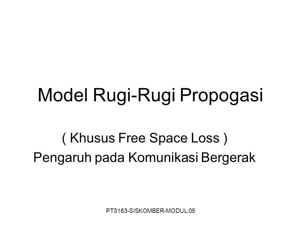 PT3163-SISKOMBER-MODUL:05 Model Rugi-Rugi Propogasi ( Khusus Free Space Loss ) Pengaruh pada Komunikasi Bergerak