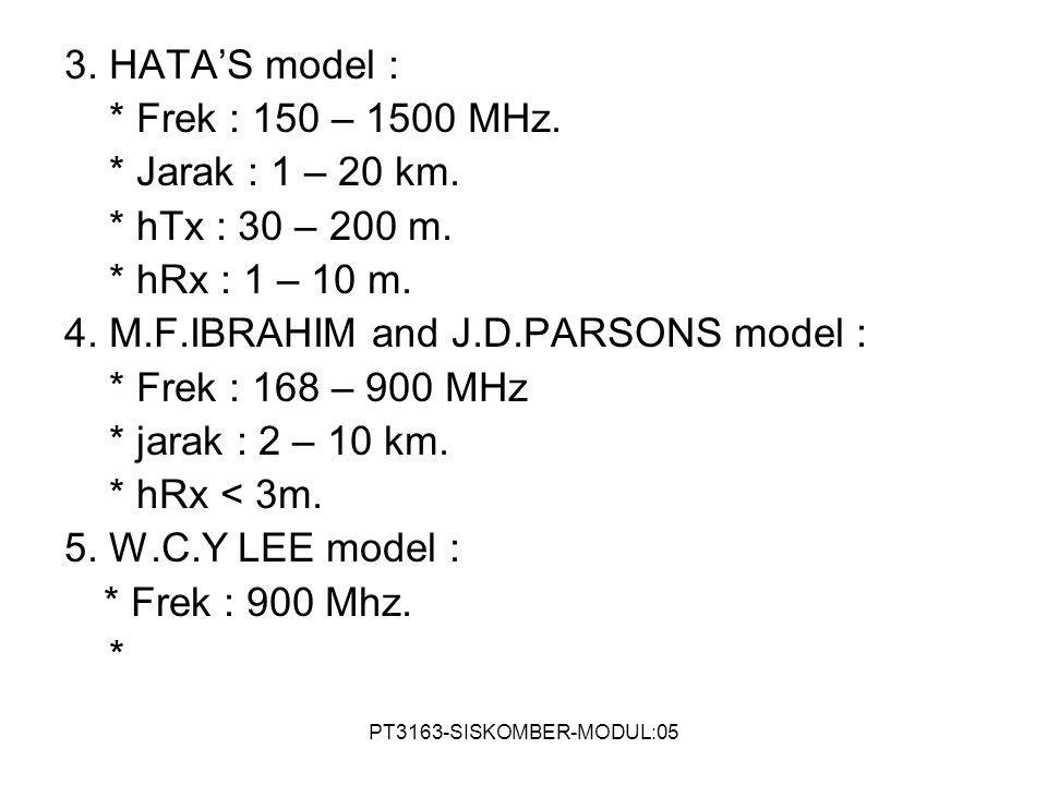PT3163-SISKOMBER-MODUL:05 3. HATA'S model : * Frek : 150 – 1500 MHz. * Jarak : 1 – 20 km. * hTx : 30 – 200 m. * hRx : 1 – 10 m. 4. M.F.IBRAHIM and J.D