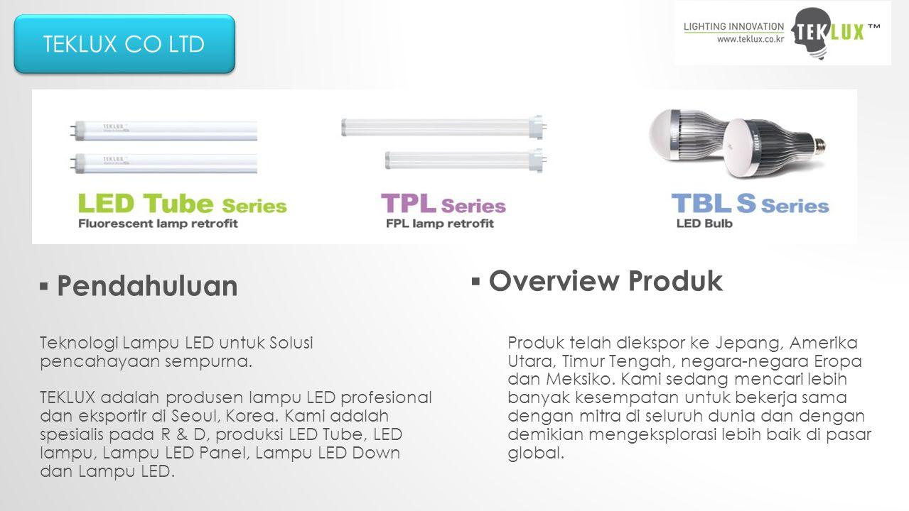 TEKLUX CO LTD ▪ Pendahuluan ▪ Overview Produk Teknologi Lampu LED untuk Solusi pencahayaan sempurna.
