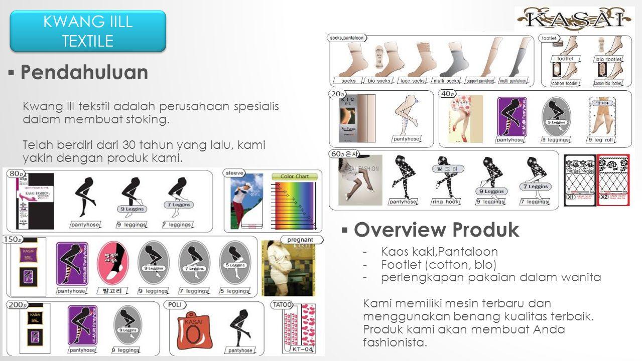 KWANG IILL TEXTILE ▪ Pendahuluan ▪ Overview Produk Kwang III tekstil adalah perusahaan spesialis dalam membuat stoking.