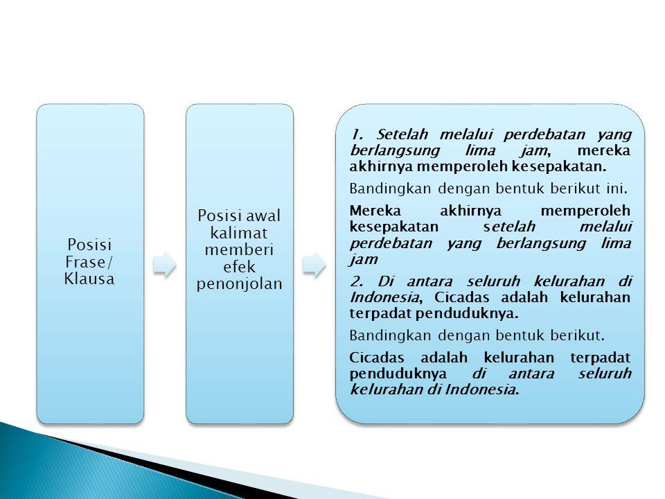 Posisi Frase/ Klausa Posisi awal kalimat memberi efek penonjolan 1.