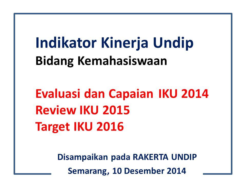 Indikator Kinerja Undip Bidang Kemahasiswaan Evaluasi dan CapaianIKU 2014 Review IKU 2015 Target IKU 2016 Disampaikan pada RAKERTA UNDIP Semarang, 10