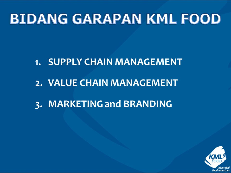 1.SUPPLY CHAIN MANAGEMENT 2.VALUE CHAIN MANAGEMENT 3.MARKETING and BRANDING