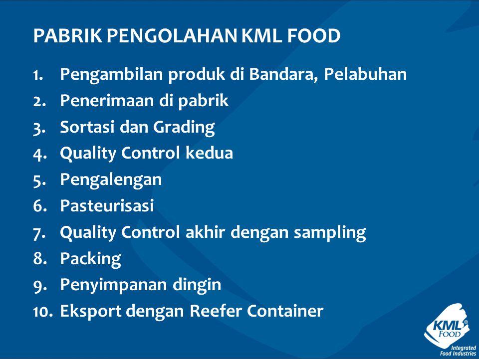 1.Pengambilan produk di Bandara, Pelabuhan 2.Penerimaan di pabrik 3.Sortasi dan Grading 4.Quality Control kedua 5.Pengalengan 6.Pasteurisasi 7.Quality Control akhir dengan sampling 8.Packing 9.Penyimpanan dingin 10.Eksport dengan Reefer Container PABRIK PENGOLAHAN KML FOOD