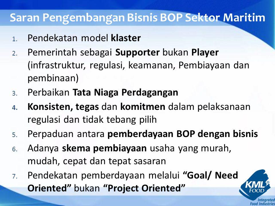 Saran Pengembangan Bisnis BOP Sektor Maritim 1.Pendekatan model klaster 2.