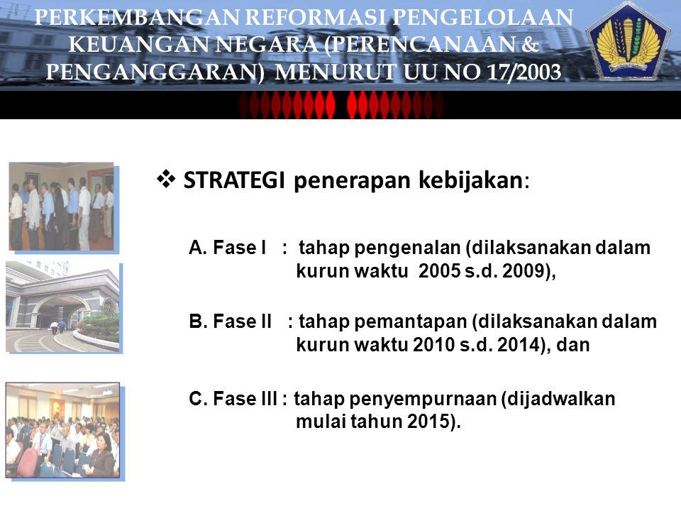  STRATEGI penerapan kebijakan: C.Fase III : tahap penyempurnaan (dijadwalkan mulai tahun 2015).