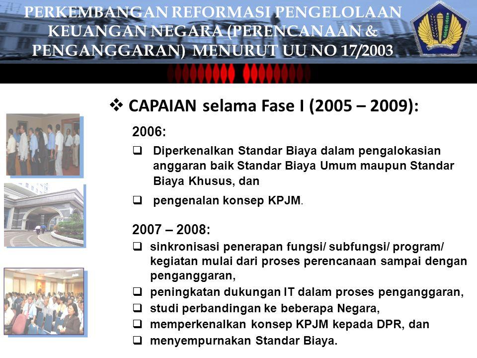  CAPAIAN selama Fase I (2005 – 2009): 2006:  Diperkenalkan Standar Biaya dalam pengalokasian anggaran baik Standar Biaya Umum maupun Standar Biaya Khusus, dan  pengenalan konsep KPJM.
