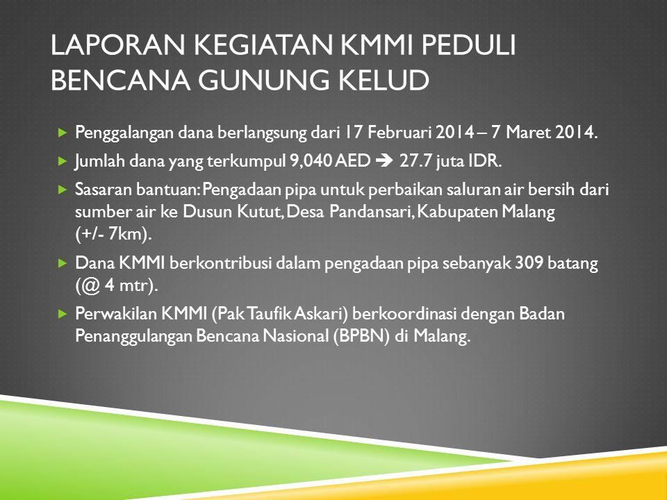 LAPORAN KEGIATAN KMMI PEDULI BENCANA GUNUNG KELUD  Penggalangan dana berlangsung dari 17 Februari 2014 – 7 Maret 2014.  Jumlah dana yang terkumpul 9