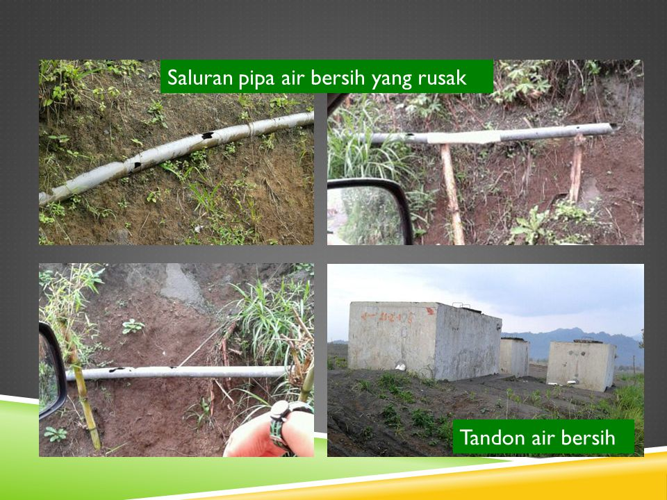 Tandon air bersih Saluran pipa air bersih yang rusak