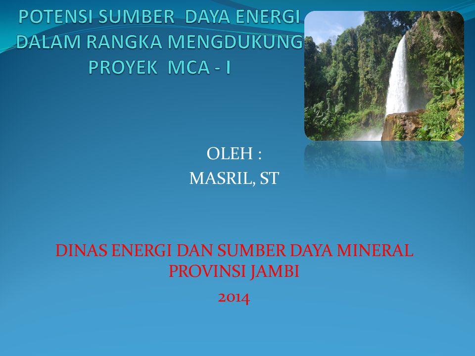 OLEH : MASRIL, ST DINAS ENERGI DAN SUMBER DAYA MINERAL PROVINSI JAMBI 2014