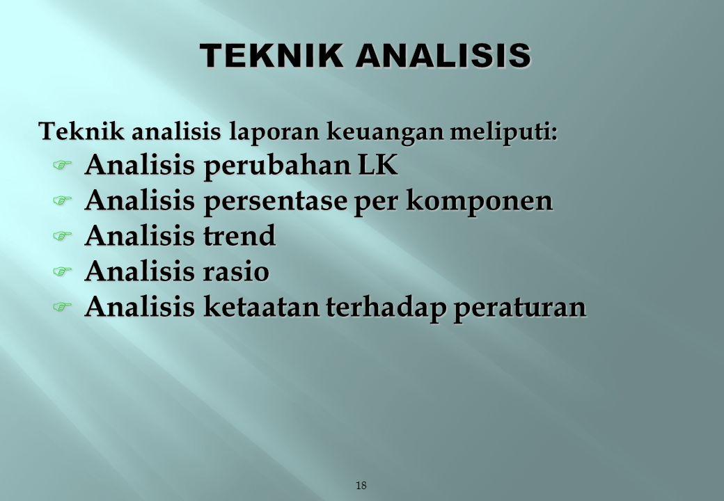 18 Teknik analisis laporan keuangan meliputi:  Analisis perubahan LK  Analisis persentase per komponen  Analisis trend  Analisis rasio  Analisis ketaatan terhadap peraturan
