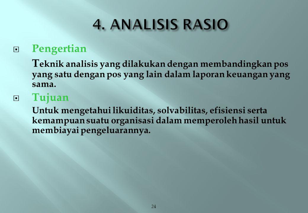 24  Pengertian T eknik analisis yang dilakukan dengan membandingkan pos yang satu dengan pos yang lain dalam laporan keuangan yang sama.