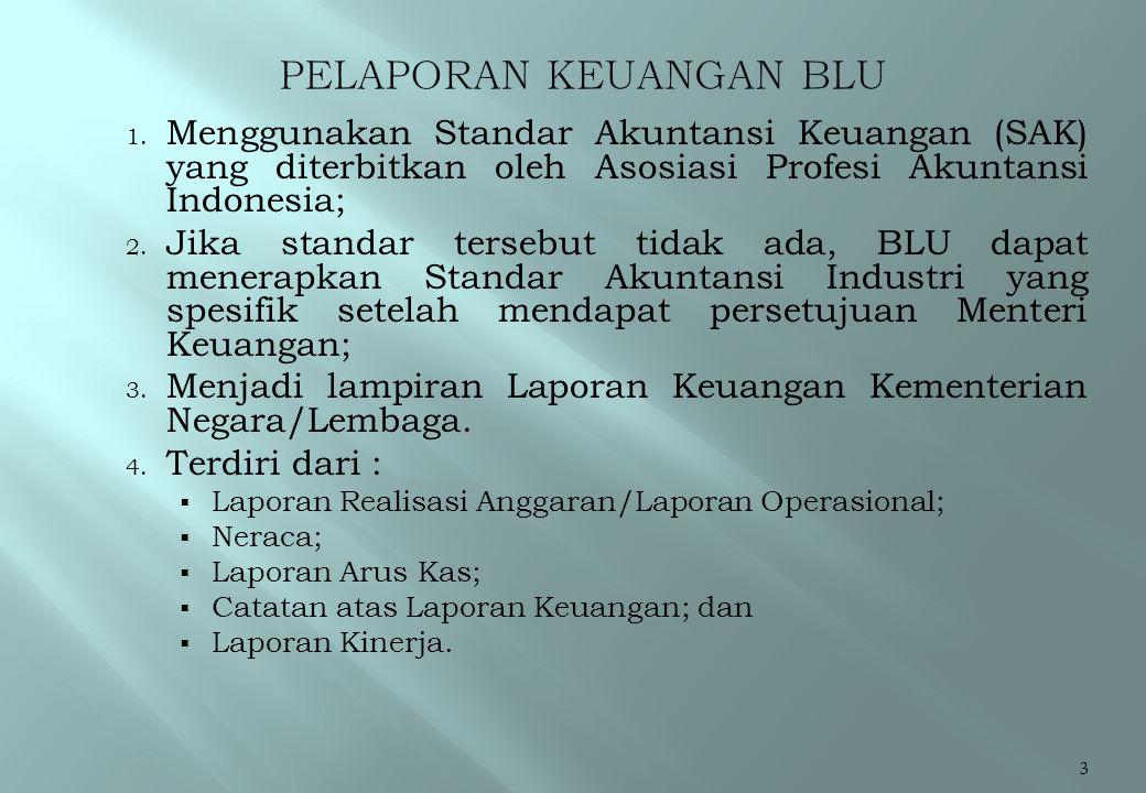 Page 4  Laporan Keuangan BLU digabungkan pada Kementerian Negara/Lembaga membawahinya dengan ketentuan sebagai berikut:  Laporan Realisasi Anggaran BLU digabungkan secara bruto kepada Laporan Realisasi Anggaran Kementerian Negara/Lembaga teknis.