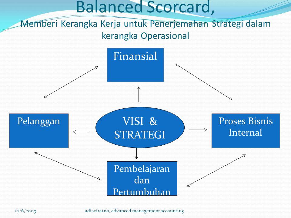 Balanced Scorcard, Memberi Kerangka Kerja untuk Penerjemahan Strategi dalam kerangka Operasional 27/6/2009adi wiratno, advanced management accounting Pelanggan Finansial Pembelajaran dan Pertumbuhan Proses Bisnis Internal VISI & STRATEGI