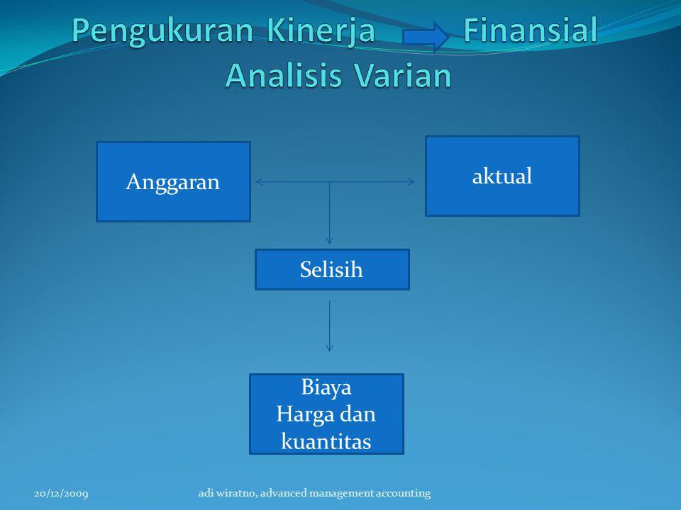 20/12/2009adi wiratno, advanced management accounting Anggaran Selisih Biaya Harga dan kuantitas aktual