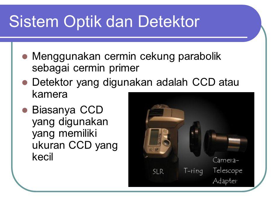 Sistem Optik dan Detektor Menggunakan cermin cekung parabolik sebagai cermin primer Detektor yang digunakan adalah CCD atau kamera Biasanya CCD yang digunakan yang memiliki ukuran CCD yang kecil