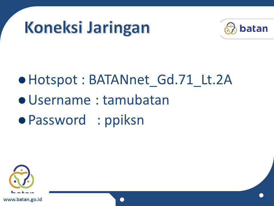 www.batan.go.id Hotspot : BATANnet_Gd.71_Lt.2A Username : tamubatan Password : ppiksn